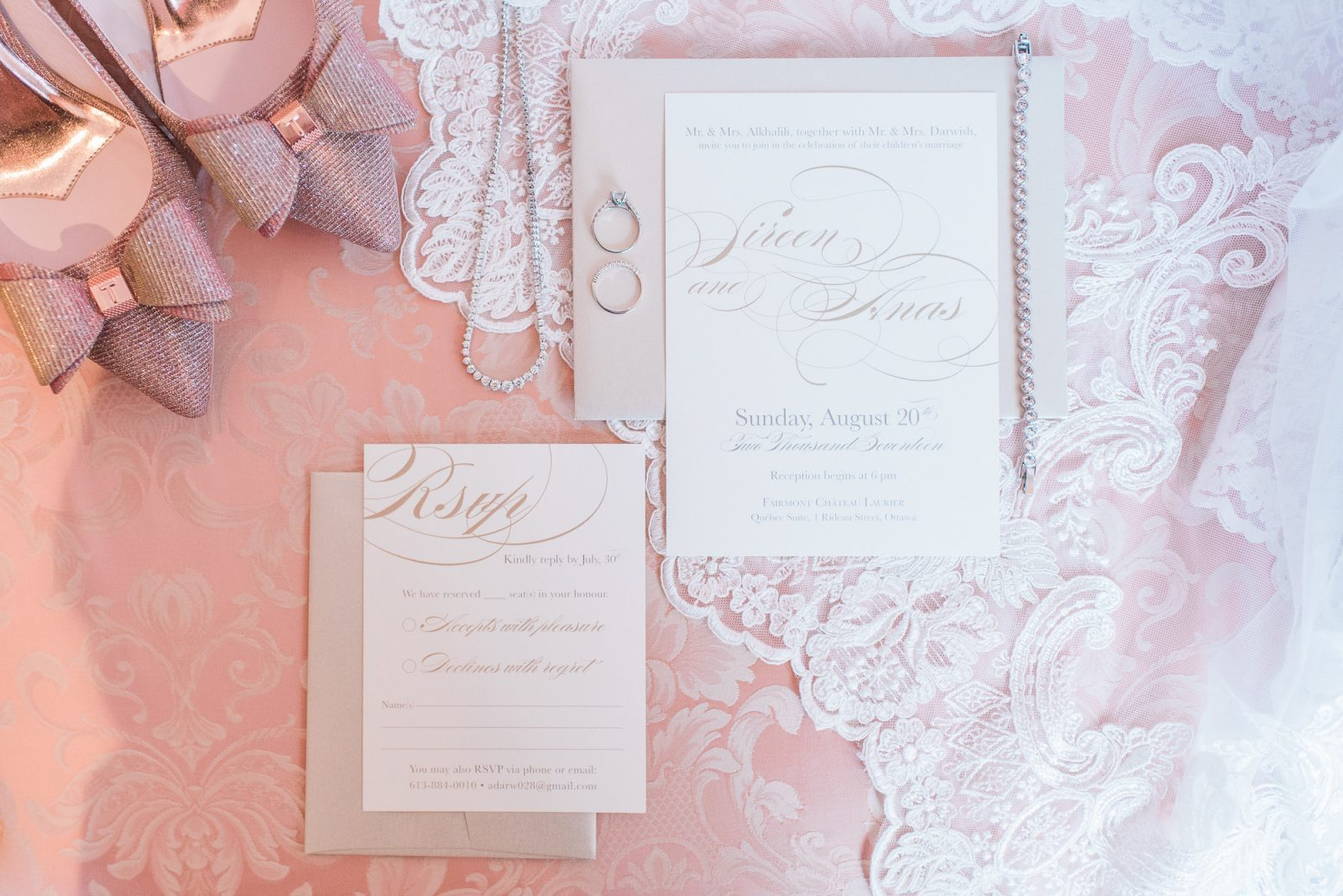 classic invitation suite - pink wedding details - styled details for wedding